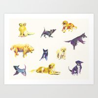 puppies Art Prints featuring Puppies! by ascaliers