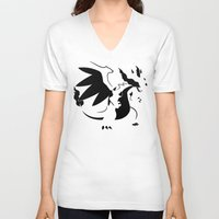 charizard V-neck T-shirts featuring Charizard Mega X by Ruo7in