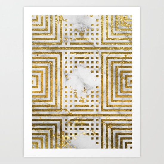 Marble and Gold Pattern #2 Art Print