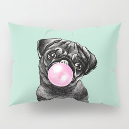 Bubble Gum Black Pug in Green Pillow Sham