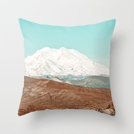 White Cap // Grainy Photograph Backpacking Before the Winter above Tree Line Throw Pillow