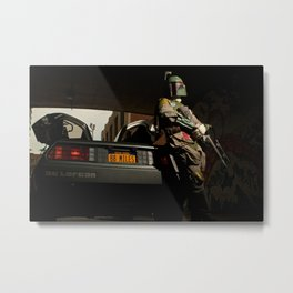Mandalorian Delorean - Bobba Fett, Bounty Hunter  Metal Print