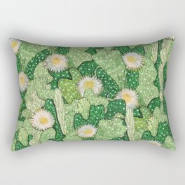 Cacti Camouflage, Green and White Rectangular Pillow