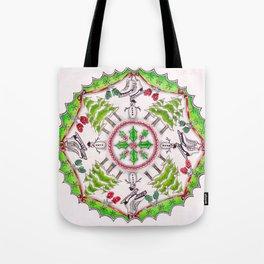 Winter Wreath Mandala Tote Bag
