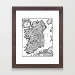 Vintage Map of Ireland (1716) BW Framed Art Print