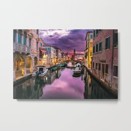 Venice Italy Canal at Night Metal Print