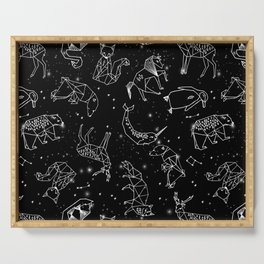 Origami Constellations - geometric animals constellations design - black Serving Tray