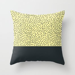 Dark navy dots on yellow Throw Pillow