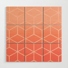 Living Coral Gradient - Geometric Cube Design Wood Wall Art
