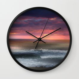 The Tide Rises ~ The Tide Falls ~ Sunset Clouds Wall Clock