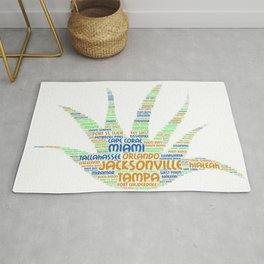Alove Vera Plant illustrated with cities of Florida State Rug