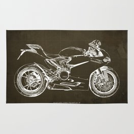 Motorcycle blueprint, Superbike 1299 Panigale, 2015,brown background, gift for men, classic bike Rug