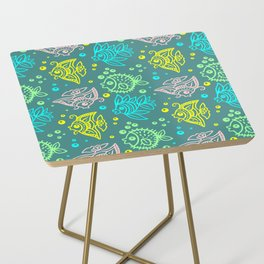 Fishes Batik Style Seamless Pattern Side Table