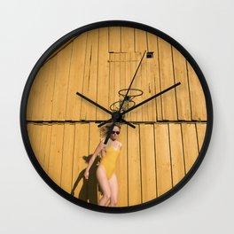 Yellow Sunday Wall Clock