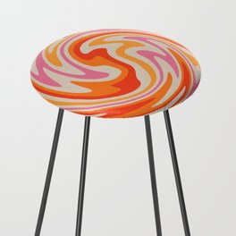 70s Retro Swirl Color Abstract Counter Stool