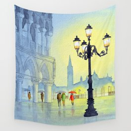 Rainy Evening In St Marks Square Venice Wall Tapestry