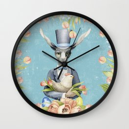 Beautiful Floral Flowers Animal Easter Bunny Wall Clock