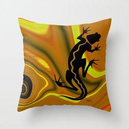 MALIBU SALAMANDER | gold Throw Pillow