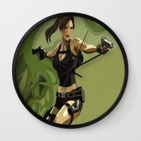 lara croft Wall Clocks featuring Lara Croft by Fran Agostinelli