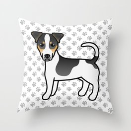 Tricolor Smooth Coat Jack Russell Terrier Dog Cute Cartoon Illustration Throw Pillow