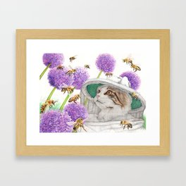 Bee Cat Framed Art Print