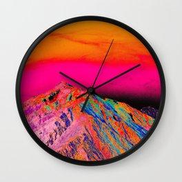 California's Sierra Mts-Digital Art, Pink & Orange Wall Clock