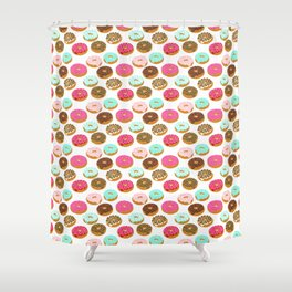 Donuts art print junk food pattern design kids minimal modern kitchen baking breakfast hipster baker Shower Curtain