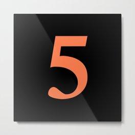 5 (CORAL & BLACK NUMBERS) Metal Print