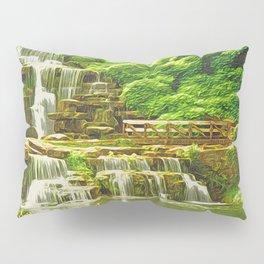 Backyard Paradise | Landscaping Cascade Waterfall - Oil Painting Canvas Pillow Sham