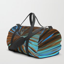 psychedelic splash painting abstract pattern in brown and blue Duffle Bag