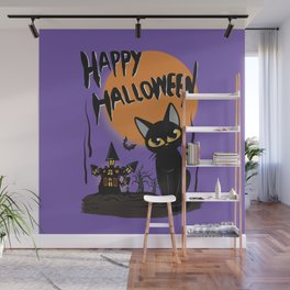 Halloween and cat Wall Mural