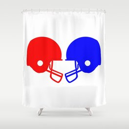 Football helmets Red And Blue Shower Curtain