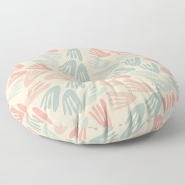 Papier Découpé Modern Abstract Cutout Pattern in Soft Sage Mint Green and Pale Coral on Cream Floor Pillow