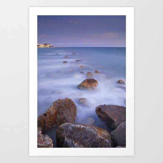 Blue sunset at the rocks Art Print