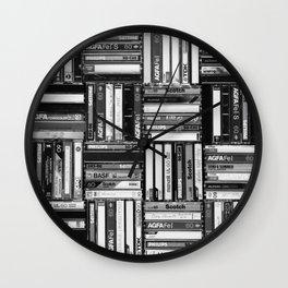 Music Cassette Stacks - Black and White - Something Nostalgic IV #decor #society6 #buyart Wall Clock