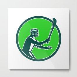 Hurling Player Icon Retro Metal Print
