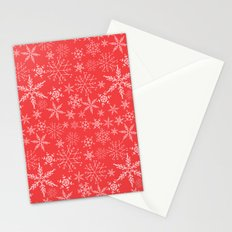 red and white snowflakes Stationery Cards