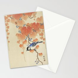 Great tit on paulownia branch (1925 - 1936) by Ohara Koson (1877-1945) Stationery Cards