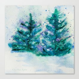 Holidaze Winter Trees w SnowFlakes watercolor by CheyAnne Sexton Canvas Print