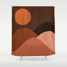 Abstraction_Mountains_SUN_MNIMALISM Shower Curtain