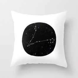Pisces zodiac star sign constellation art black and white Throw Pillow
