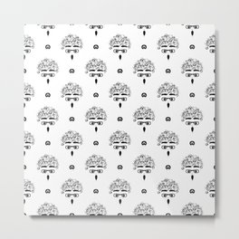 curly-headed boy (stupefied) seamless repeat pattern in next-level black and white Metal Print