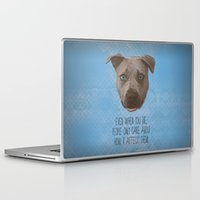 pit bull Laptop & iPad Skins featuring Pit Bull Print by Roxy Makes Things