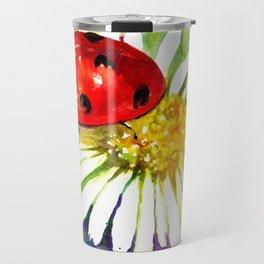 Ladybug In White Daisy Flowers Travel Mug