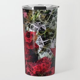 Mixed color Poinsettias 1 Letters 2 Travel Mug