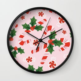 Candy Canes & Holly Wall Clock