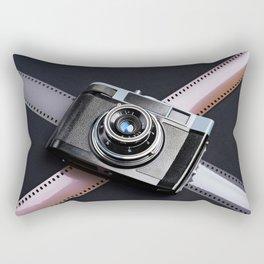 Vintage camera and films on black Rectangular Pillow