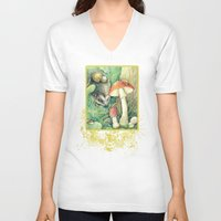 mushrooms V-neck T-shirts featuring Mushrooms by Natalie Berman