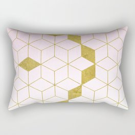 Pink & Gold Gradient Cubes Rectangular Pillow