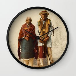 Native American Couple Wall Clock